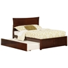 Metro Platform Bed with Flat Panel Footboard - Antique Walnut - AR90X2X14