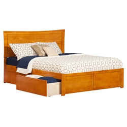 Metro Platform Bed with Flat Panel Footboard - Caramel Latte Metro Platform Bed with Flat Panel Footboard - Caramel Latte