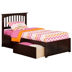 Mission Platform Bed with Flat Panel Footboard - Espresso Mission Platform Bed with Flat Panel Footboard - Espresso