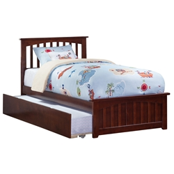 Mission Platform Bed with Matching Footboard - Antique Walnut Mission Platform Bed with Matching Footboard - Antique Walnut