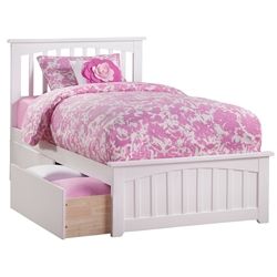 Mission Platform Bed with Matching Footboard - White Mission Platform Bed with Matching Footboard - White