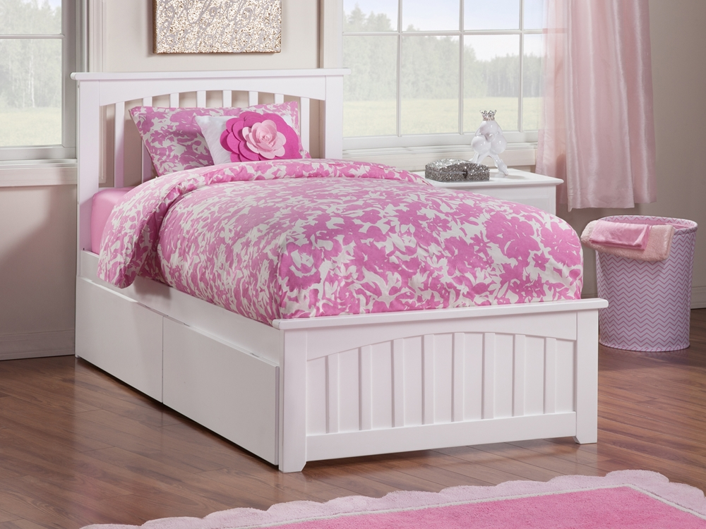 Mission Platform Bed With Matching Footboard White