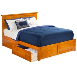 Nantucket Platform Bed with Flat Panel Footboard - Caramel Latte Nantucket Platform Bed with Flat Panel Footboard - Caramel Latte