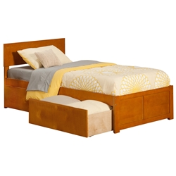 Orlando Platform Bed with Flat Panel Footboard - Caramel Latte Orlando Platform Bed with Flat Panel Footboard - Caramel Latte
