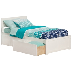 Orlando Platform Bed with Flat Panel Footboard - White Orlando Platform Bed with Flat Panel Footboard - White