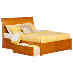 Portland Platform Bed with Flat Panel Footboard - Caramel Latte Portland Platform Bed with Flat Panel Footboard - Caramel Latte