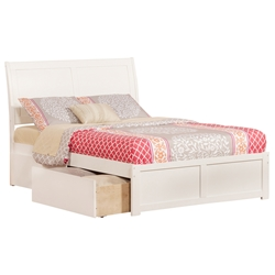 Portland Platform Bed with Flat Panel Footboard - White Portland Platform Bed with Flat Panel Footboard - White