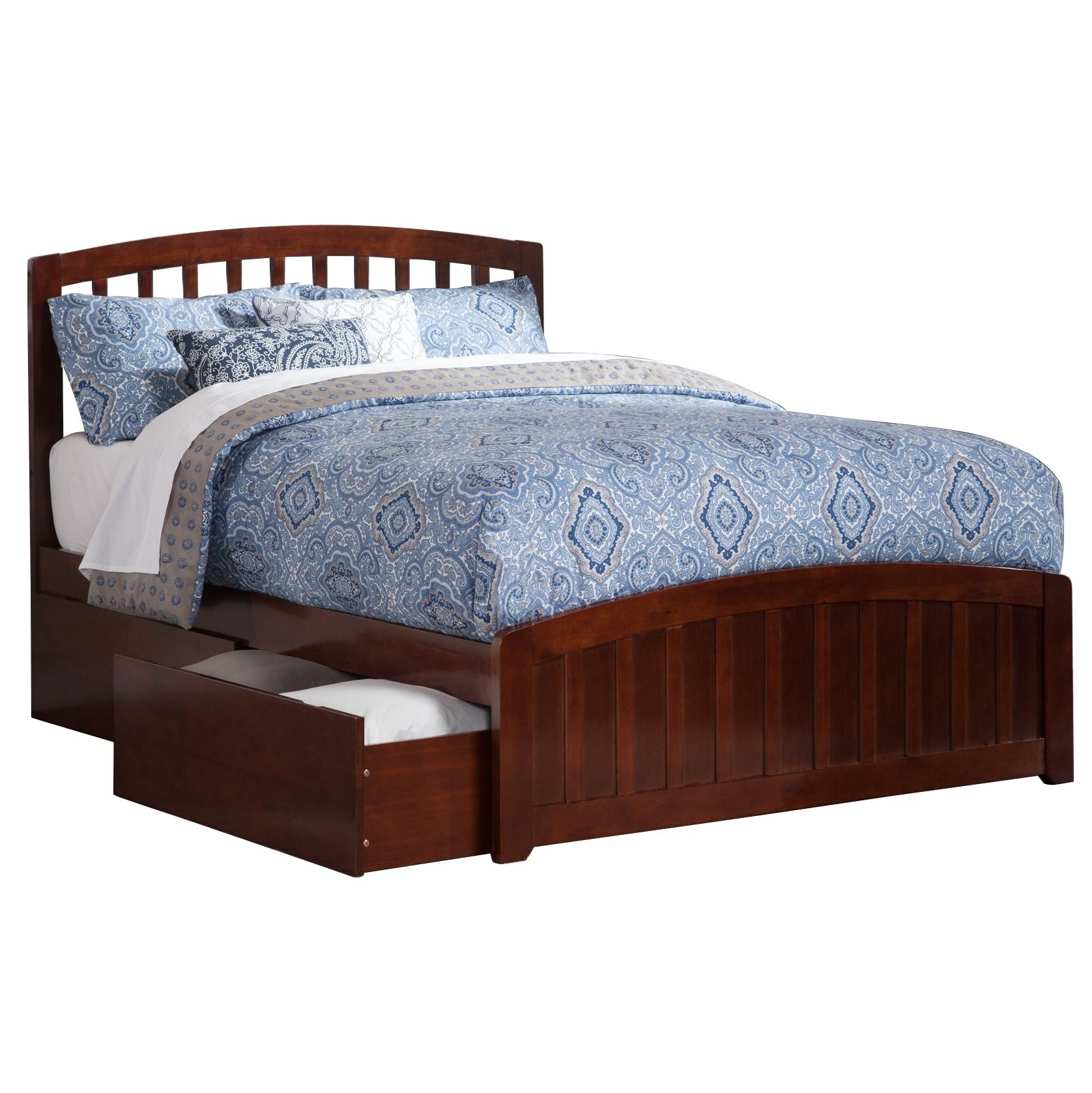 Richmond Platform Bed with Matching Footboard - Antique Walnut