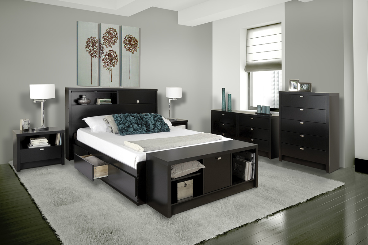 Solid Wood Twin Storage Headboard