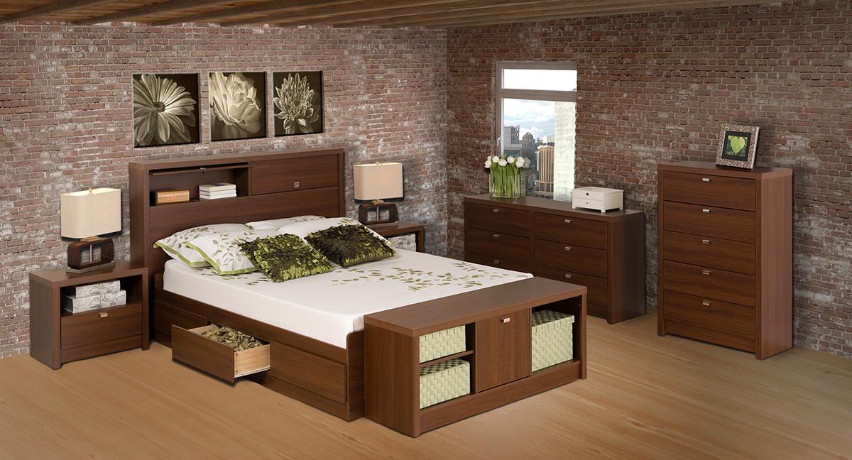 series 9 storage platform bed cherry. Black Bedroom Furniture Sets. Home Design Ideas