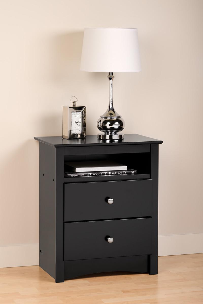 Sonoma 2 Drawer Tall Nightstand Black Bdc 2428