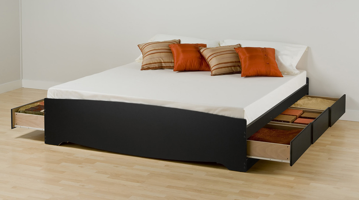 Storage Platform Bed Black
