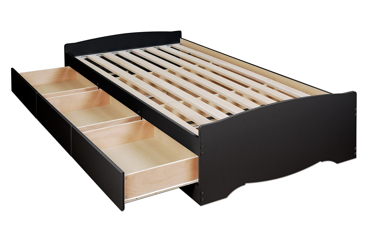 storage platform bed  black -