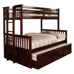 University Twin/Full Bunk Bed - Dark Walnut CMBK458F-DW University Twin/Full Bunk Bed - Dark Walnut CMBK458F-DW