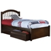 Windsor Platform Bed with Flat Panel Footboard - Antique Walnut - AP94X2X1422