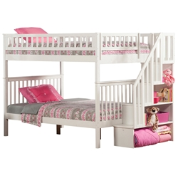 Woodland Full/Full Staircase Bunk Bed - White AB56802 Woodland Full/Full Staircase Bunk Bed - White AB56802