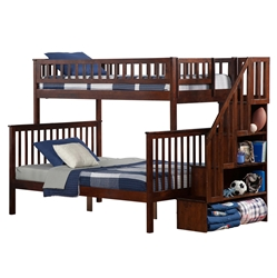 Woodland Twin/Full Staircase Bunk Bed - Antique Walnut AB56704 Woodland Twin/Full Staircase Bunk Bed - Antique Walnut AB56704