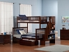 Woodland Twin/Full Staircase Bunk Bed - Antique Walnut AB56704 - AB56704