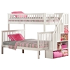 Woodland Twin/Full Staircase Bunk Bed - White AB56702 Woodland Twin/Full Staircase Bunk Bed - White AB56702
