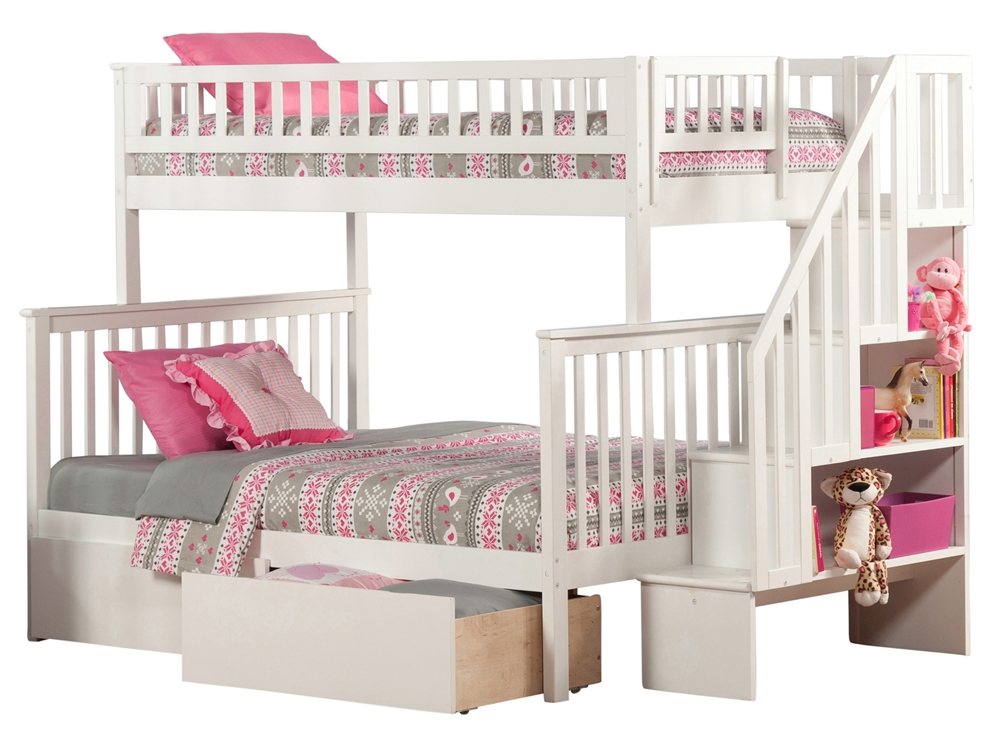 Woodland Twin Full Staircase Bunk Bed White Ab56702