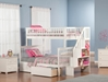 Woodland Twin/Full Staircase Bunk Bed - White AB56702 - AB56702