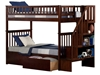 Woodland Twin/Twin Staircase Bunk Bed - Antique Walnut AB56604 - AB56604