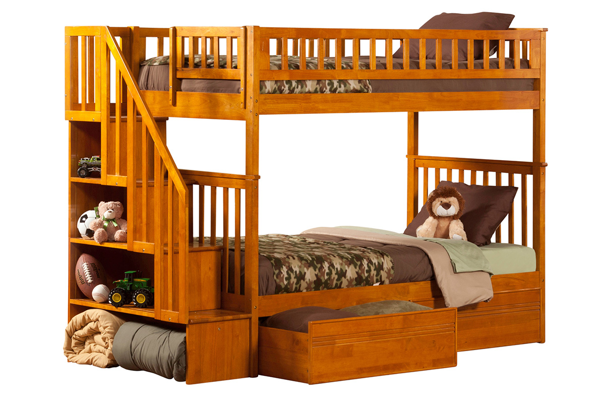 Woodland Twin Twin Staircase Bunk Bed Caramel Latte Ab56607