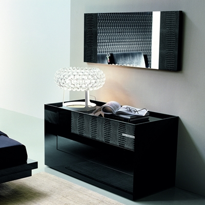 Luxe Modern Mirror Coordinates with The Luxe Modern collection. Crocodile leather effect on both sides.