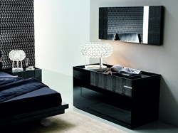 Luxe Modern Dresser 3-drawer dresser in polished black veneer. Features soft-close drawers.