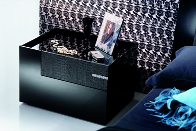 Luxe Modern Nightstand Expressing a great desire to stand out, the Luxe bedroom set attracts daring elegance, tinged with glamour. Nightstand comes with soft-close drawers. Polished black veneer.