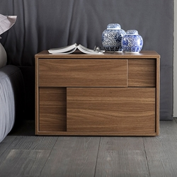 Copernicus Walnut Nightstand Here to provide you with a funky, modern style storage space, the Copernicus Walnut Nightstand blends right into any modern setting. It provides you with two large drawers with a soft-close feature for functionality and durability.