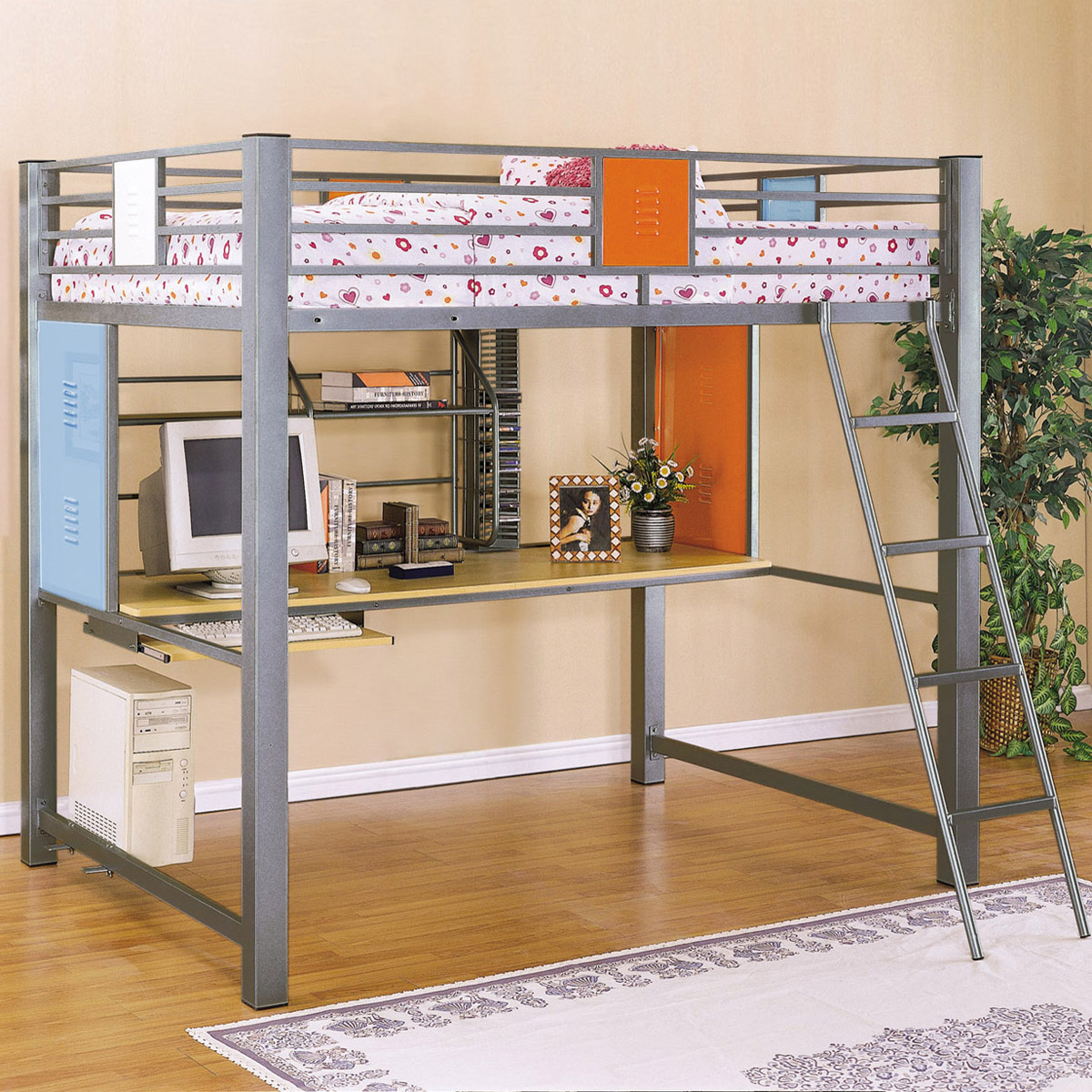 Full Loft Bed With Desk For Teens ... Tiesto Full Loft Bunk Bed - KBL-517-117 ...
