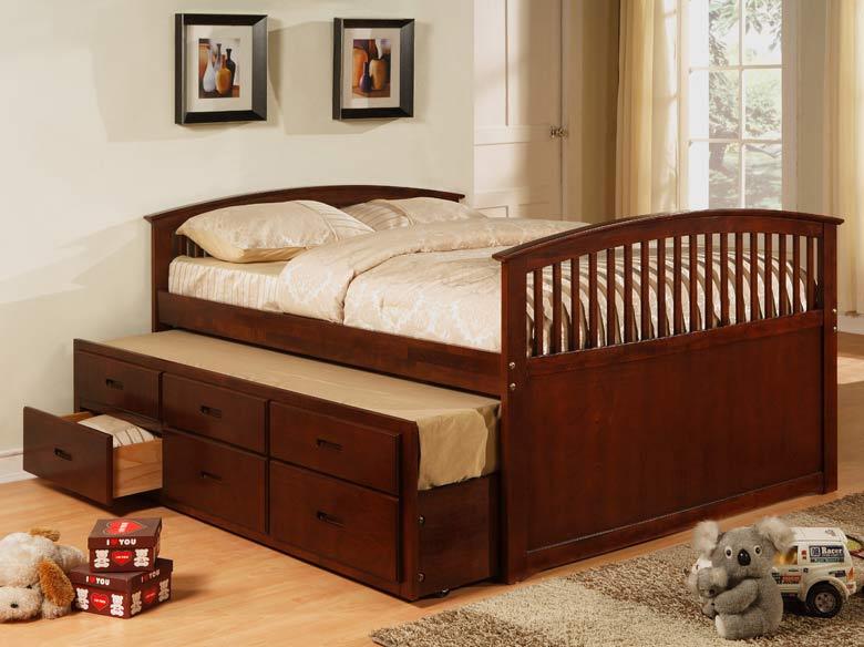 Cherry Trundle Storage Platform Bed