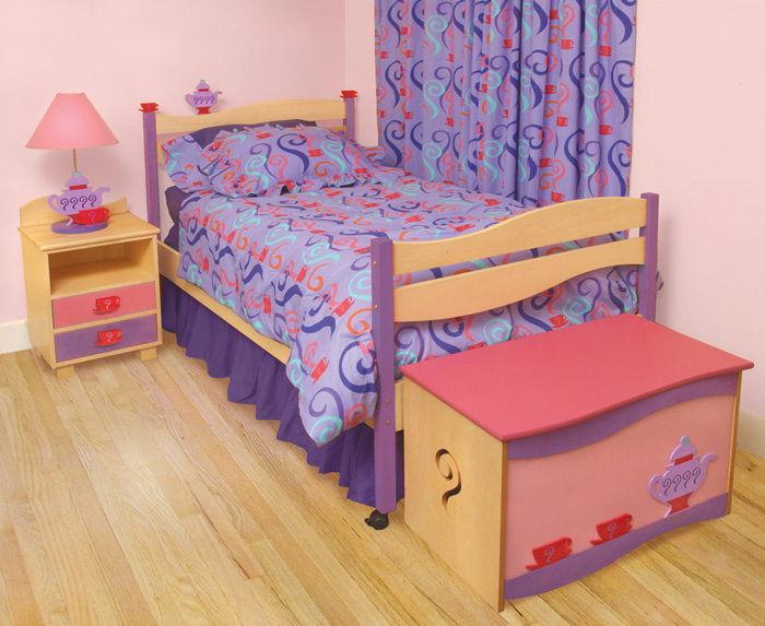 Tea Party Girls Twin Platform Bed