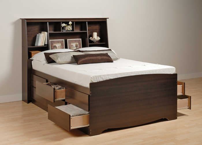 Augusta tall storage platform bed with headboard for Lit queen size