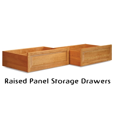 Raised Panel Storage Drawer (set of 2) Raised panel platform bed storage drawers. Add these matching storage drawers and turn an ordinary platform bed into a   storage platform bed! Complete with easy roll caster wheels, these storage drawers   can finally provide you with the storage you need.