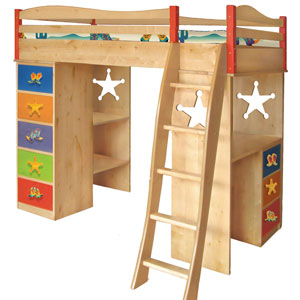 The Deputy Boys Loft Bed Its a loft bed, or its a bunk bed... it's a desk AND it's a dresser... the options are many, but the memories for your young man are limitless!