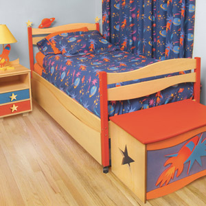 Space Cadet Boys Twin Platform Bed Blast off into deep space with the Space Cadet Platform Bed!