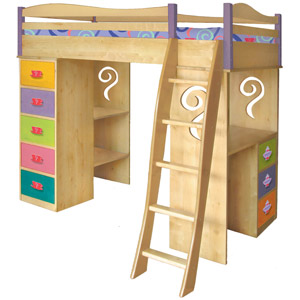 Tea Party Girls Loft Bed Its a loft bed its a bunk bed... it's a desk... it's a dresser... its all of these things to you but for your little girl it is a whole bunch more!