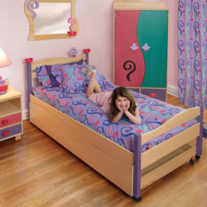Tea Party Girls Twin Platform Bed Your young lady will have her tea party in no time with the Tea Party Twin Bed.
