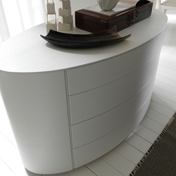 Luna 4-Drawer Dresser Round and fun shaped, the Luna Dresser provides you with a stylish and functional piece of furniture for your modern home. Made from solid wood with a glossy white lacquer finish, youll have a plenty of space for storing your things while adding to the sleek style of your bedroom.