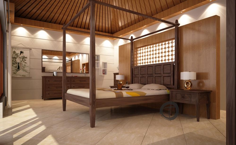 Tropical Mahogany Canopy Bed
